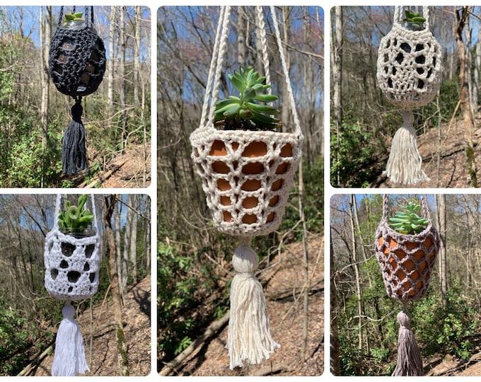 Crochet Pattern - 5 Hanging Planters with Tassels // Boho Home Decor Crochet Plant Hangers