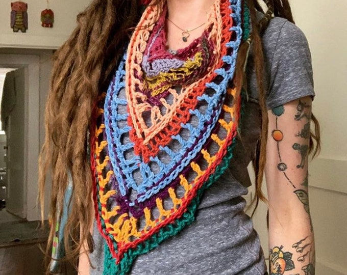Scrappy Crochet Mountain Scarf #3 // One of a Kind Triangle Scarf // WOOL FREE