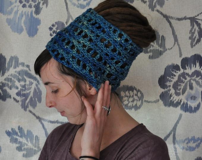 Blue Wave Crochet Dreadlock Headband #1