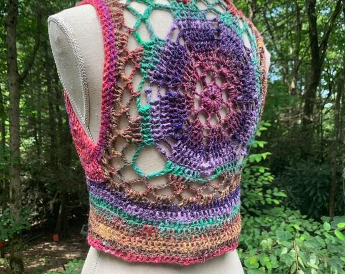 Luna Mandala Vest - Rainbow Crochet Bolero - Large