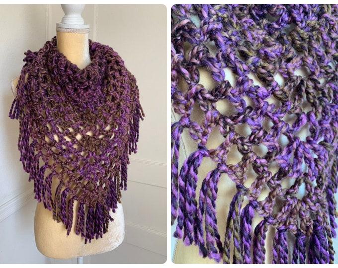 Crochet Bulky Triangle Scarf With Fringe // Chunky Bandana Cowl // Wool Blend