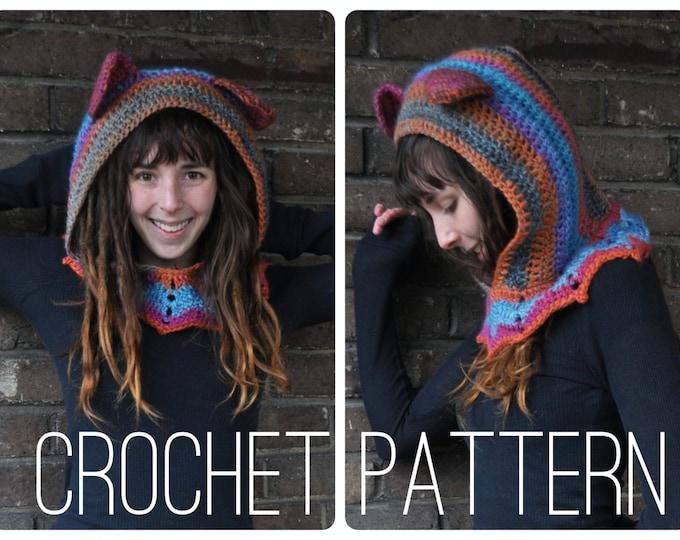 Crochet Pattern - Grateful Dead Dancing Bear Hood // Hippie Festival Accessory Cowl Hood Scarf
