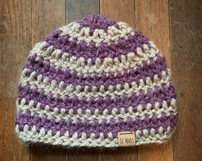 Striped Crochet Winter Hat // Ooak Super Soft Alpaca Blend Beanie