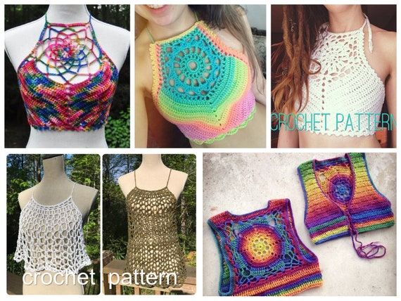 5 Crochet Pattern Pack - Crochet Crop Top & Vest Pattern Pack