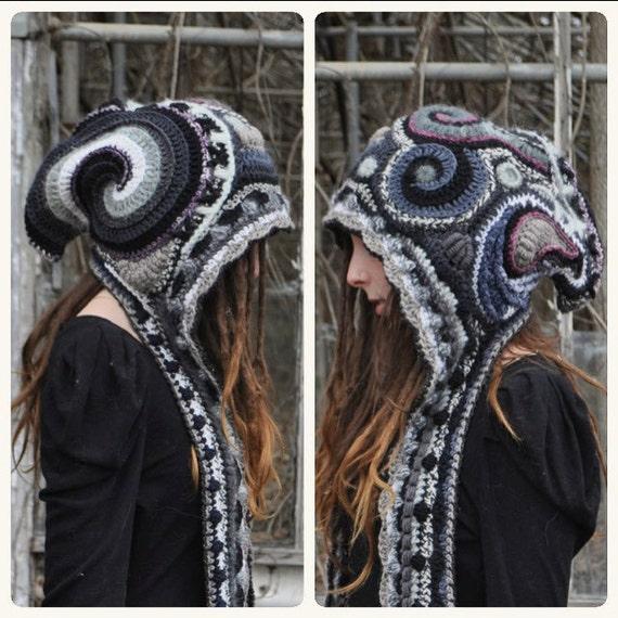 Custom Made For You Freeform Crochet Hooded Scarf // Ooak Handmade Spirit Hood