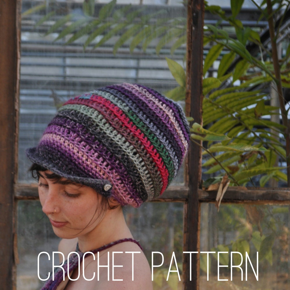 Crochet Pattern Slouchy Spiral Beanie With Brim Easy Beginner Tam