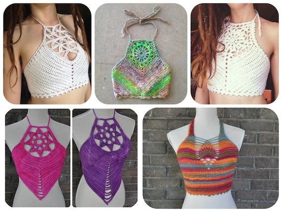 5 Crochet Pattern Pack - Festival Halter Crop Tops / Bralette / Bikini / Crochet Crop Top Pattern Pack