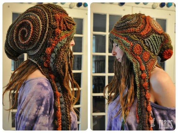 Custom Made For You Woodlands Freeform Crochet Hooded Scarf // Ooak Handmade Spirit Hood