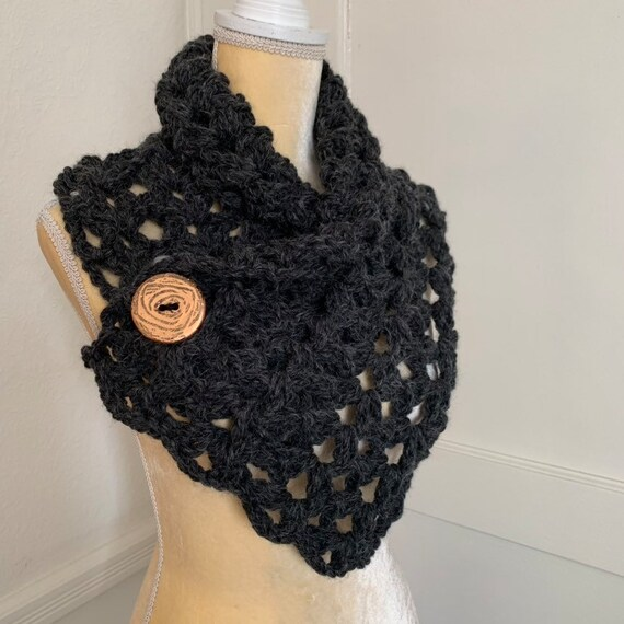 Charcoal Crochet Wool Blend Cowl With Statement Button