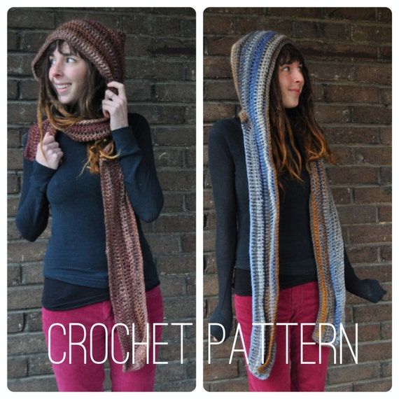 Crochet Pattern - Scarf Scoodie Hood Fall Winter Unisex Accessory // Hooded Scarf PATTERN