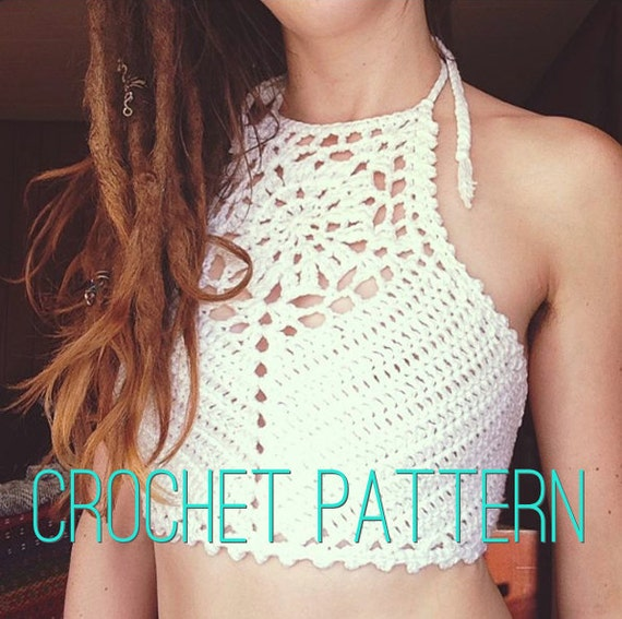 Crochet Pattern - Crop Top Halter Bikini High Neck Mandala Festival Bralette // Zinnia Crochet Crop Top PATTERN