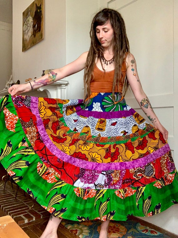 African Wax Print Patchwork Cotton Skirt // One of a Kind Spinner Skirt