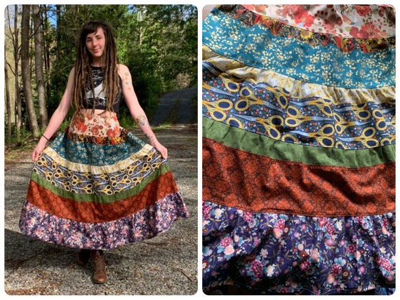 Shady Grove // Patchwork Cotton Skirt // One of a Kind Floral Skirt