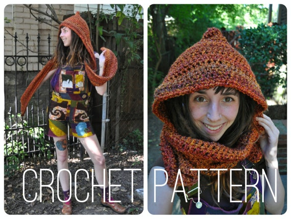 Crochet Pattern Bulky Quick Easy Scoodie Hood Scarf Unisex Etsy