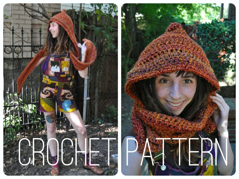Crochet Pattern Bulky Quick Easy Scoodie Hood Scarf Unisex Winter