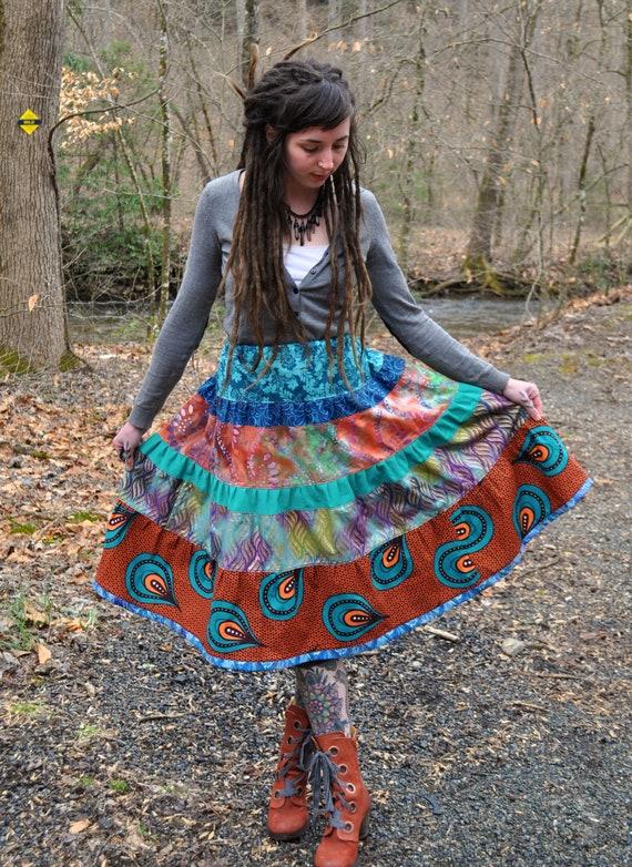 African Wax Print & Batik Patchwork Tier Spinner Skirt
