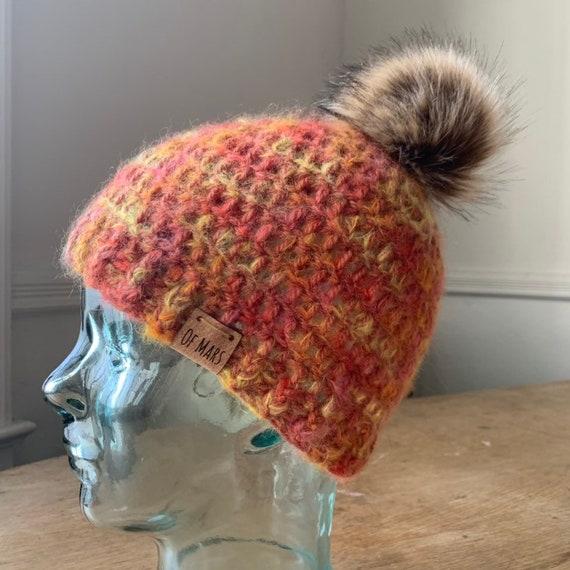 Simple Orange Crochet Beanie with Faux Fur Pom