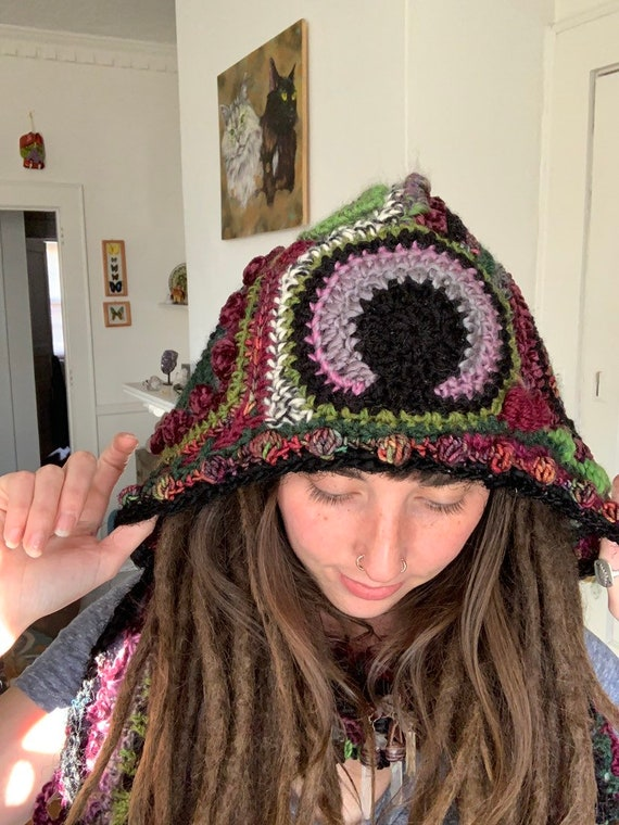 Witchy Woman Freeform Crochet Hooded Scarf