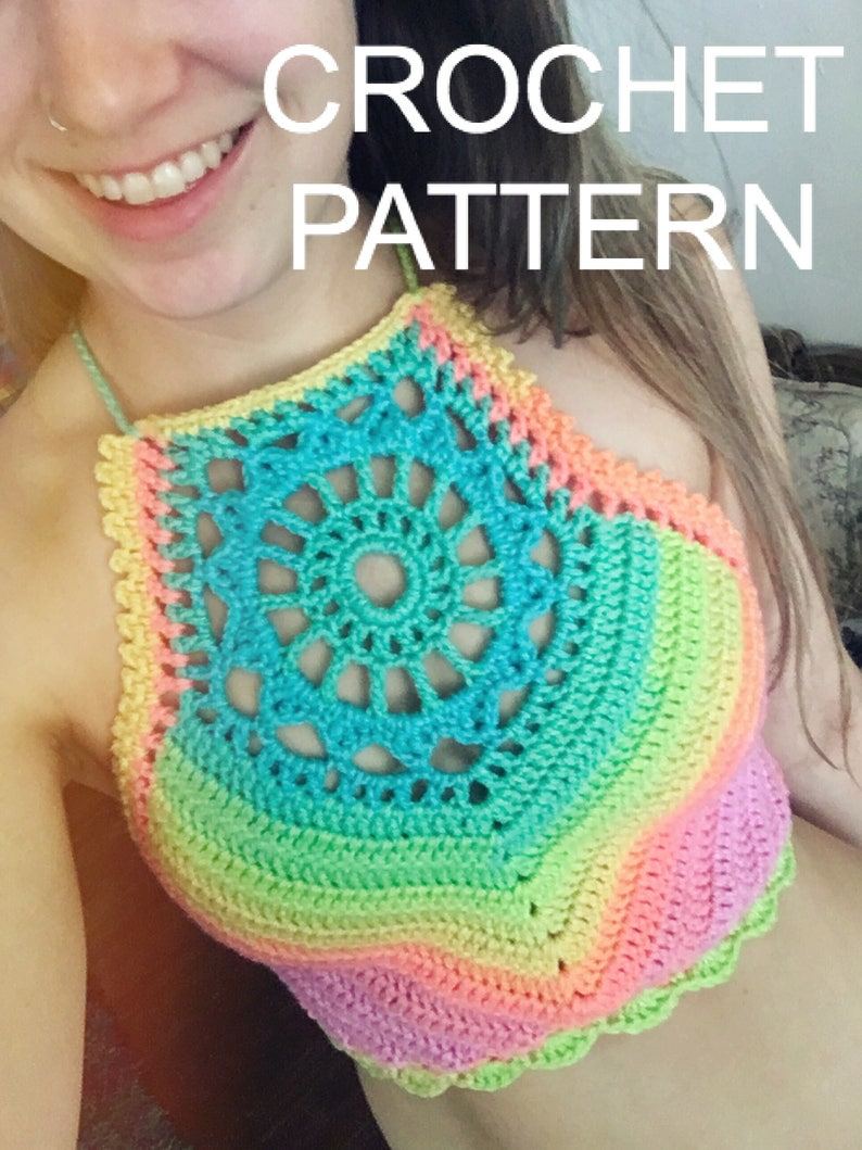 23c8ae7dff3e4b Crochet Pattern Crop Top Halter Bikini High Neck Mandala