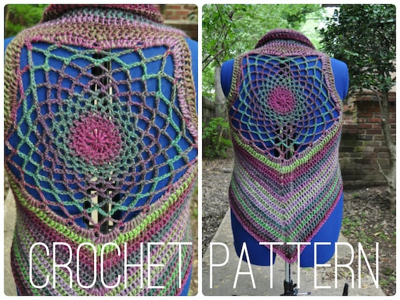 Crochet Pattern - Cardigan Shrug Sweater Sleeveless Pixie Vest for Women // Dreamcatcher Mandala Vest PATTERN