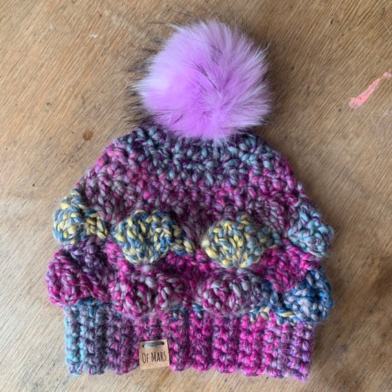Shell Stitch Crochet Hat with Pompom