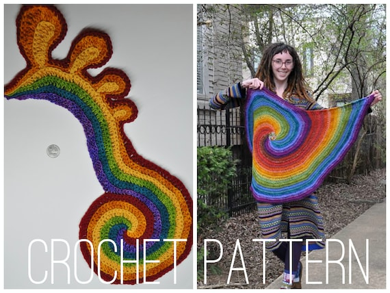 Crochet Pattern - Freeform Spirals // Freeform Crochet Tutorial Spirals Motif DIY Applique