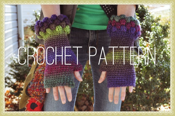 Crochet Pattern - Bobbly Fingerless Gloves