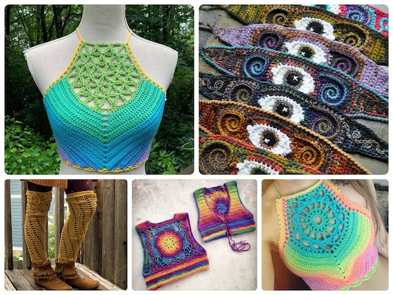 5 Crochet Pattern Bundle // Crochet Festival Crop Top, Freeform Headband, and Legwarmer Patterns