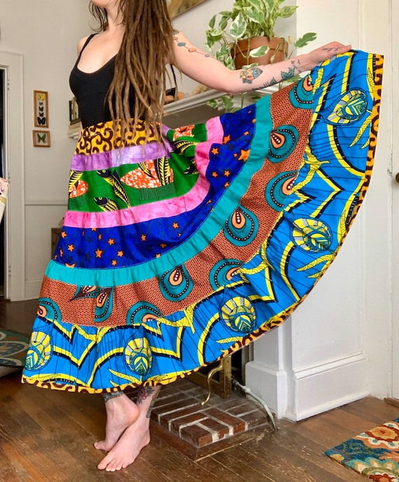 African Wax Print & Hand Dyed Fabric Patchwork Tier Spinner Skirt