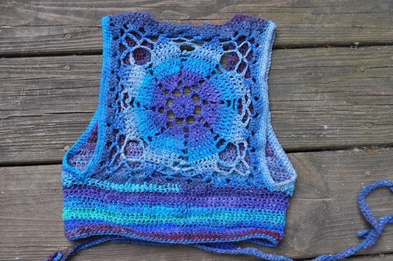 Lagoon Luna Mandala Crochet Wrap Vest - Size XS // Cropped Organic Stripe Vest