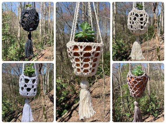 Crochet Pattern - 5 Hanging Planters with Tassels // Boho Home Decor // Crochet Plant Hangers // Succulent Planter