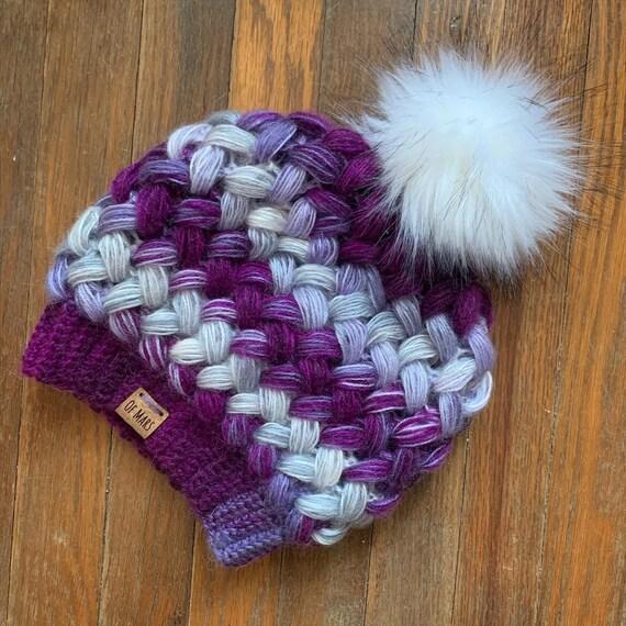 CUSTOM Purple Puff Stitch Hat