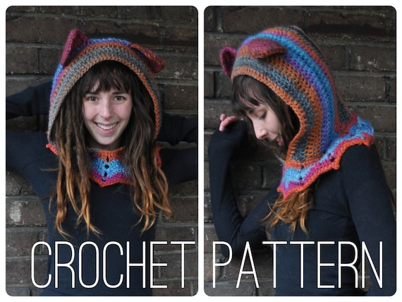 Crochet Pattern - Grateful Dead Dancing Bear Hood // Hippie Festival Accessory Cowl Hood Scarf