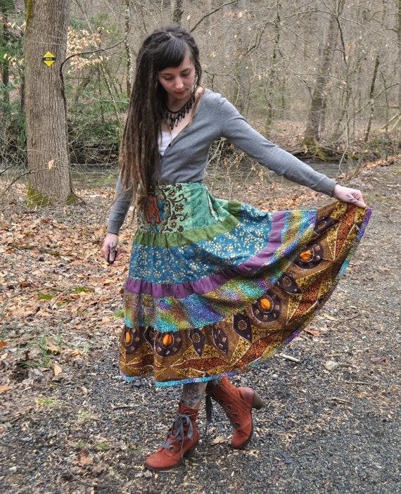 Earthy Patchwork Tier Spinner Skirt