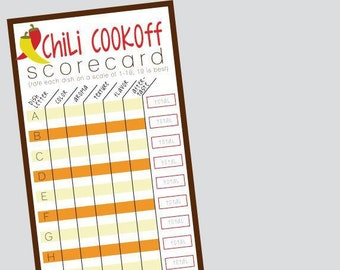 Chili Score Card Etsy