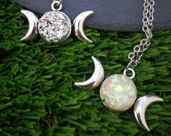 Wiccan jewelry witchcraft triple moon necklace, druzy moon necklace triple goddess necklace, opal triple moon necklace triple moon jewelry