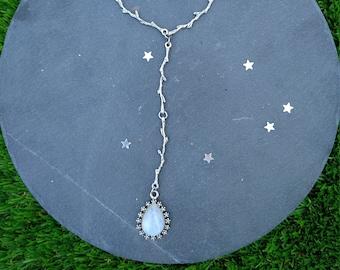 Moonstone Y necklace, moonstone necklace, silver twig branch necklace, Moonstone Drop Necklace, lariat necklace,  Moonstone Jewelry