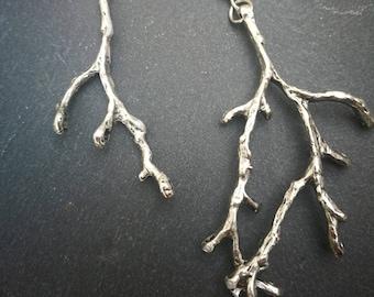 Twig earrings silver branch earrings, mismatch tree earrings, large statement earrings, nature inspired jewelry