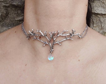 Deer antler necklace silver branch choker, elven necklace, iridescent crystal choker, twigs choker necklace, woodland jewelry