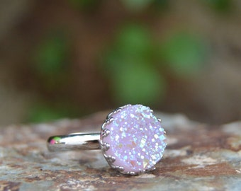 Light mauve ring, lavender ring,  light violet druzy ring, glitter ring, dainty ring, sparkle ring, silver druzy jewelry