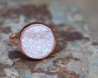 White drusy ring, white druzy ring rose gold druzy ring rose gold jewelry, white druzy jewelry