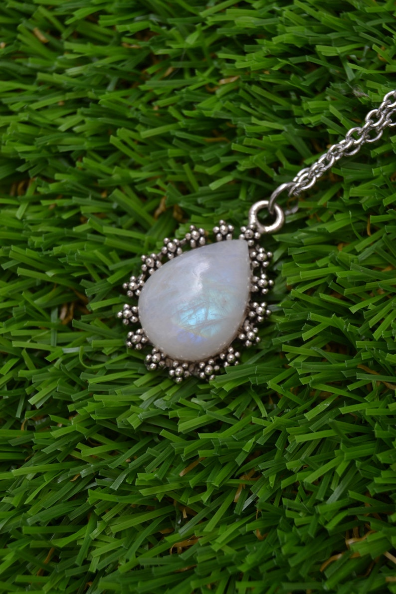 simple necklace Silver moonstone necklace dainty moonstone pendant boho moonstone jewelry moonstone drop necklace stainless steel chain