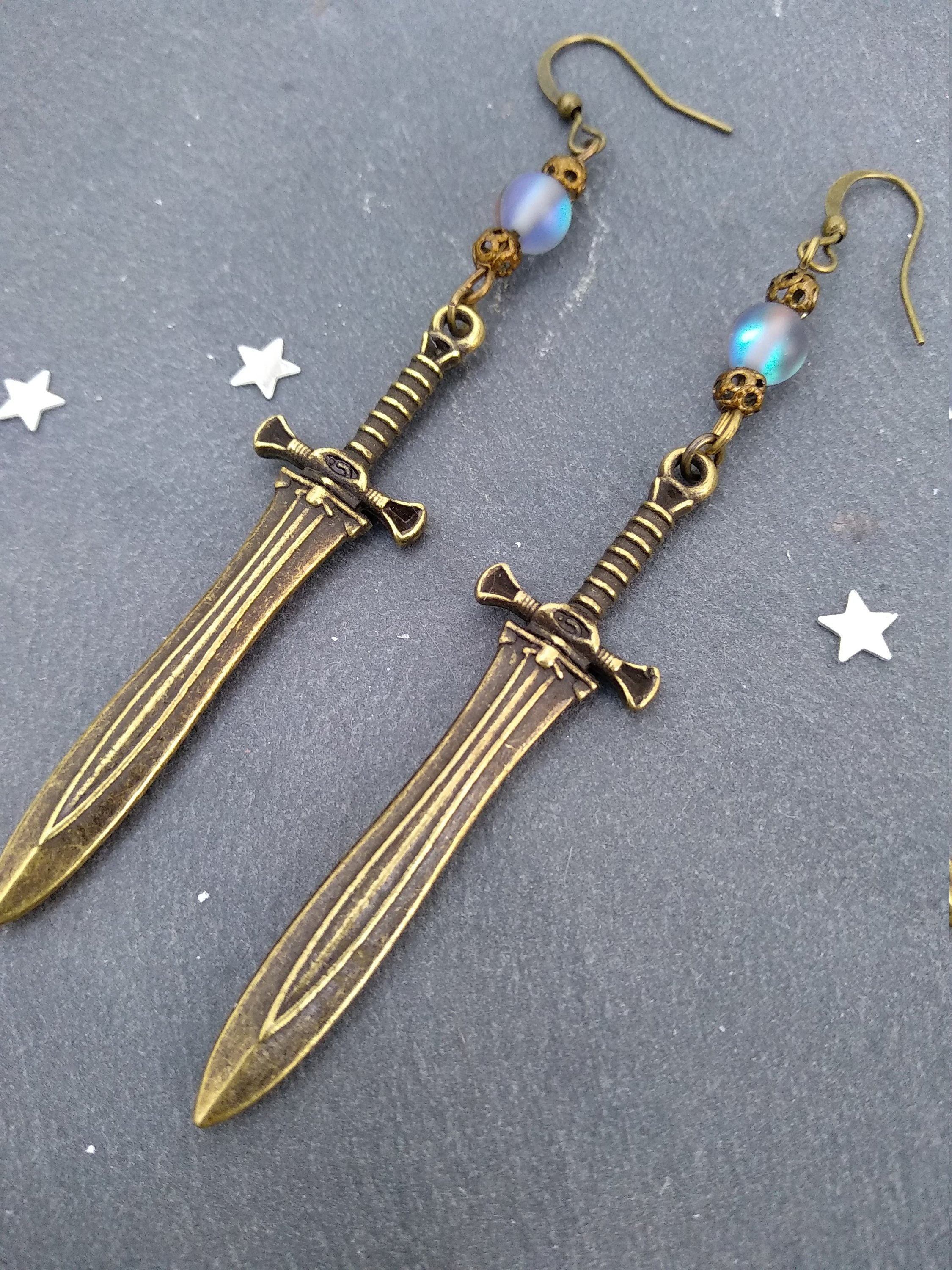 Dual Daggers Cosplay Jewelry Water Elemental Magical Titanium Earrings Blue Silver Shock Wave Space Inspired Jewellery Sands of Time