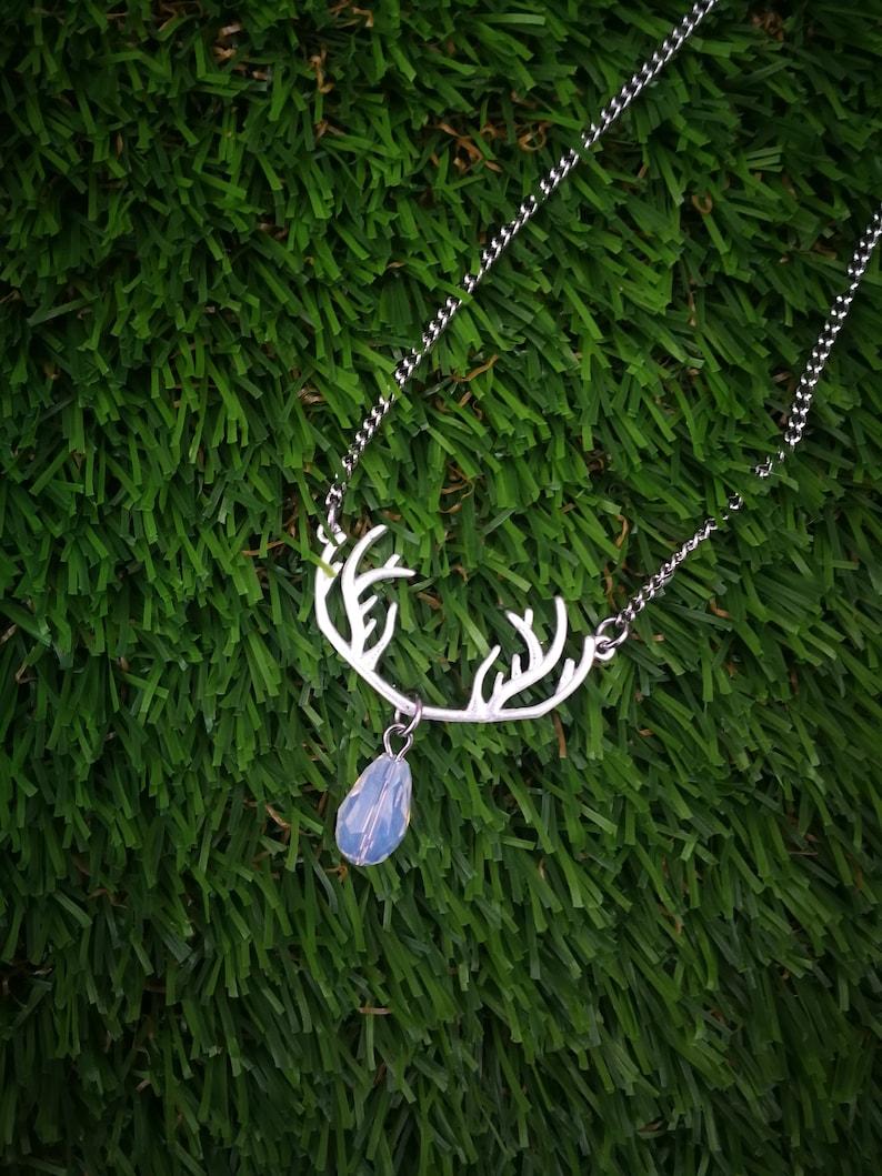 Deer antlers necklace silver antler necklace crystal silver image 0