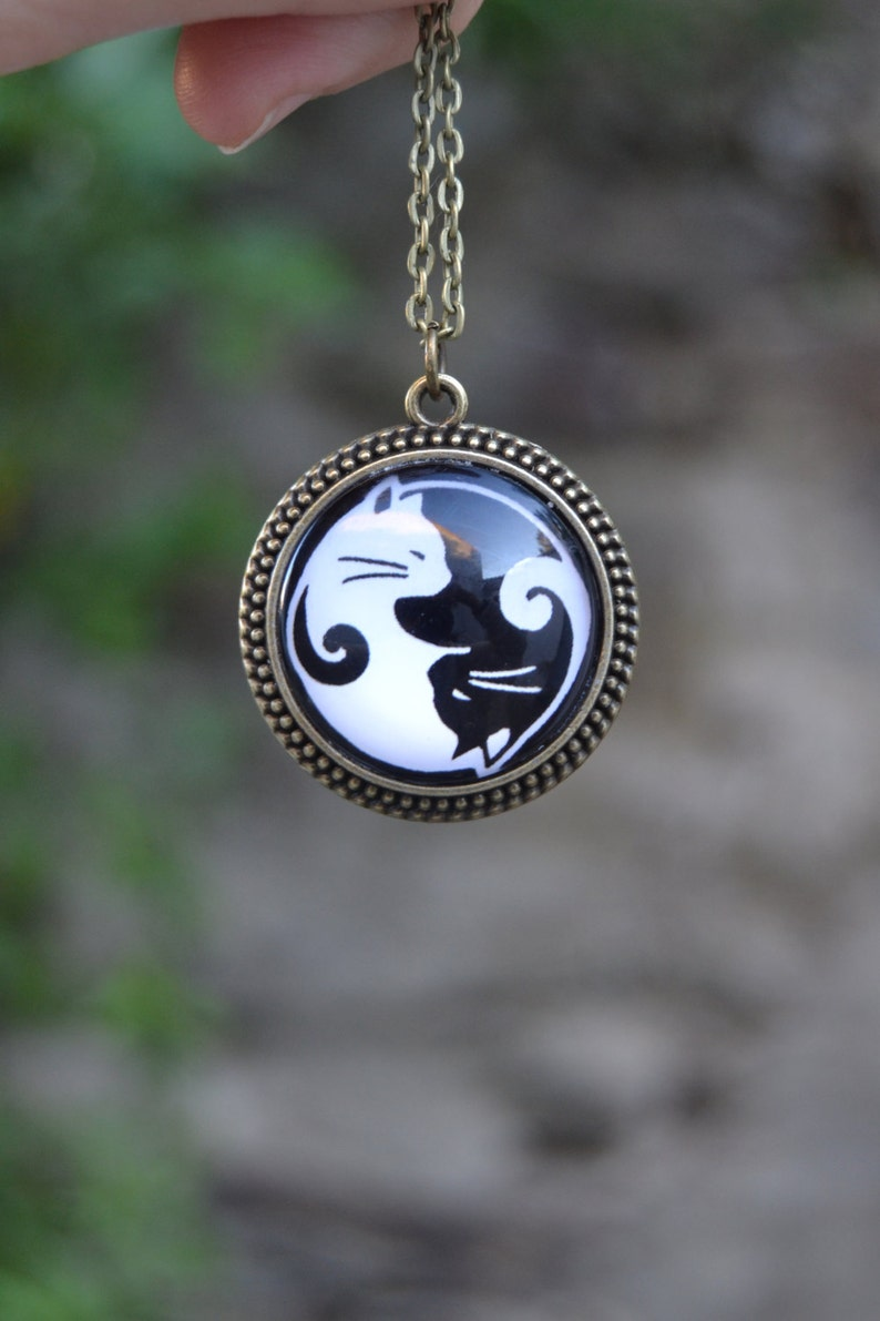 Yin yang cats necklace cat jewelry cat necklace you complete me love gift yin yang necklace cat pendant necklace cat lover gift
