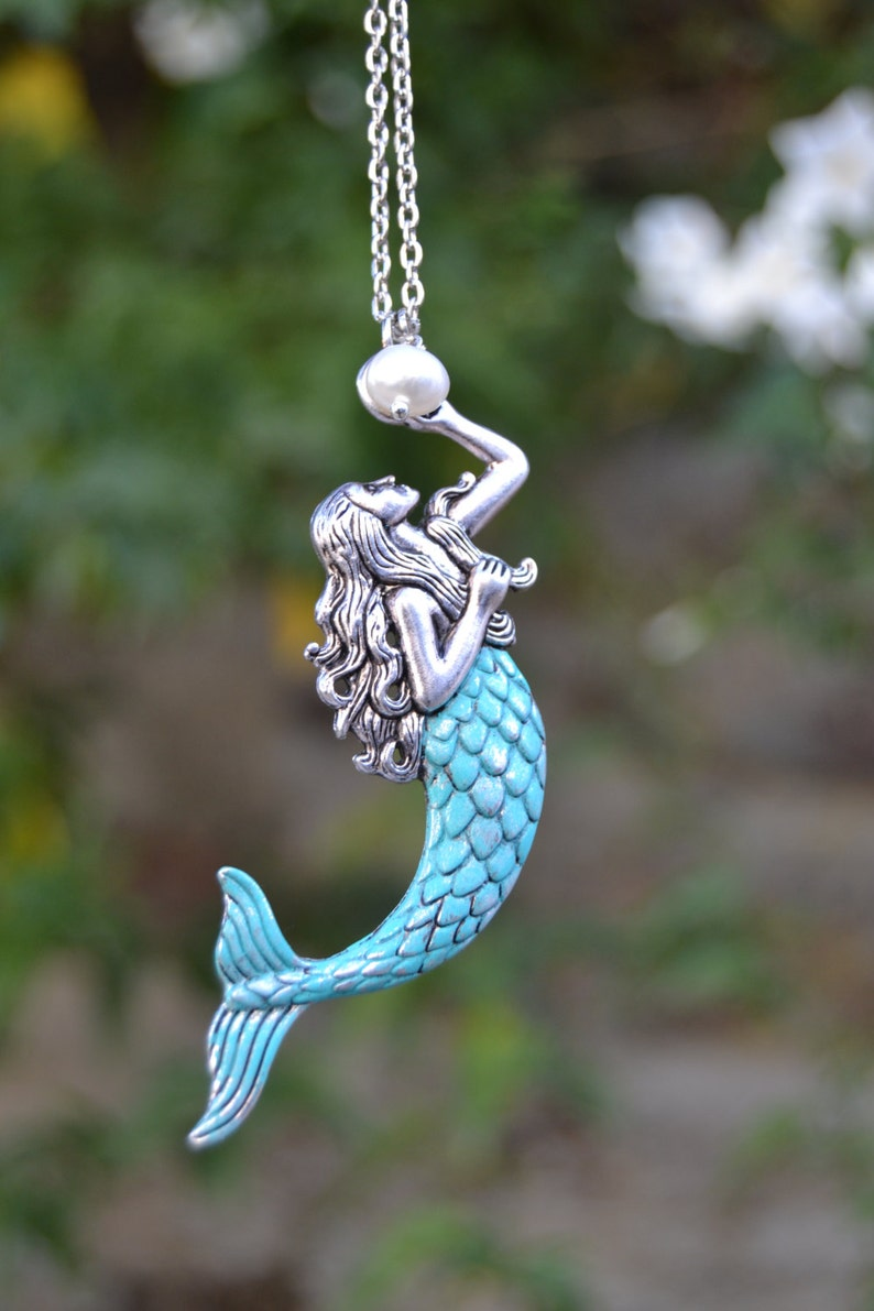 Silver mermaid necklace with pearl  large mermaid pendant necklace  verdigris patina mermaid jewelry