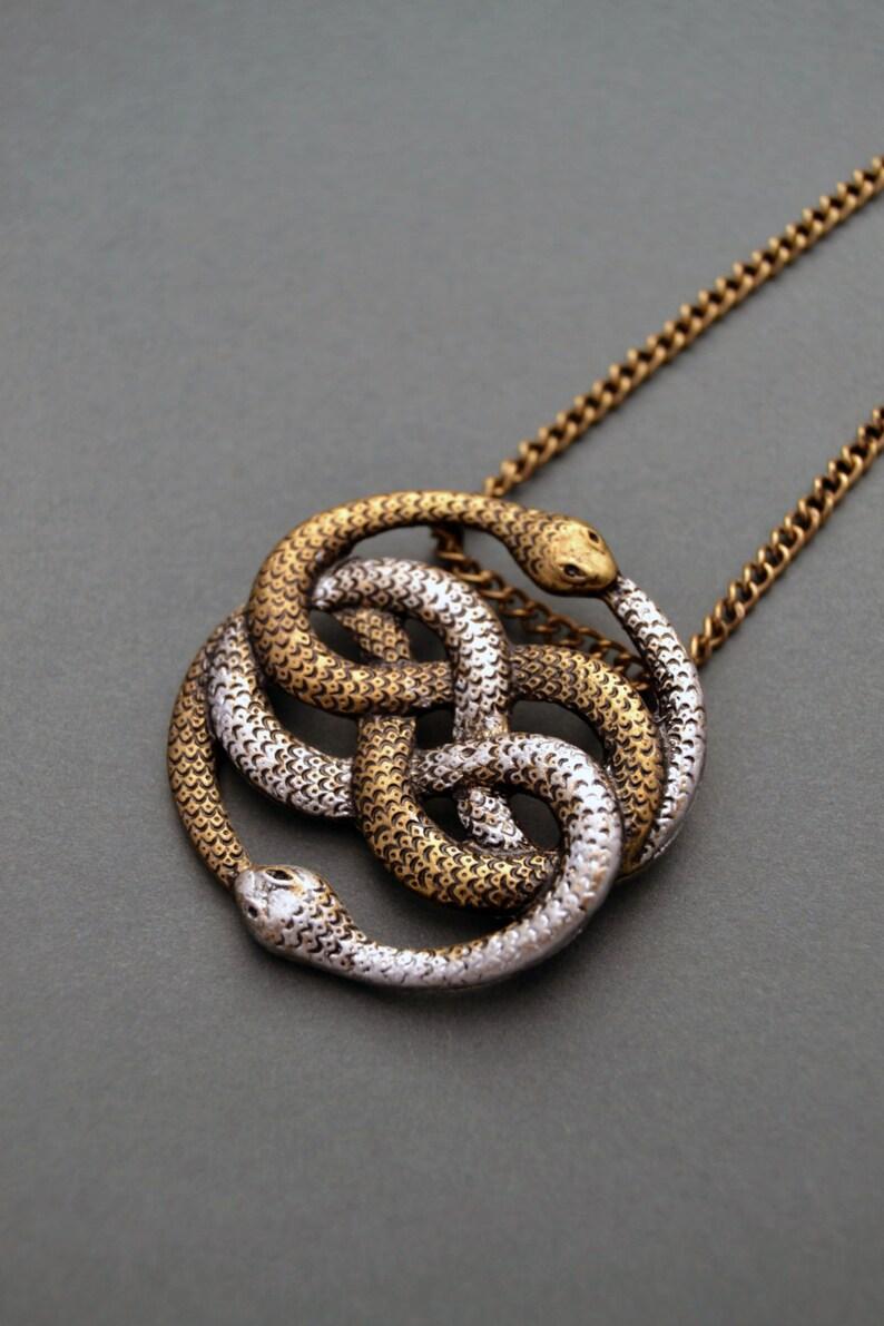 Auryn necklace Infinite snake necklace Snake jewelry Snake image 0