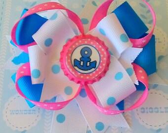 NAUTICAL HAIR BOW. Sailor Bow. Hair bow for girls.