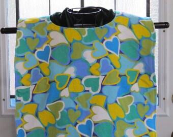 Large Tall Adult bib XL Tall Adult Bib.  Flannel & Terry Cloth. Fit adjusts at neck .  Reversible  Blue Yellow Hearts Adult Bib Extra long
