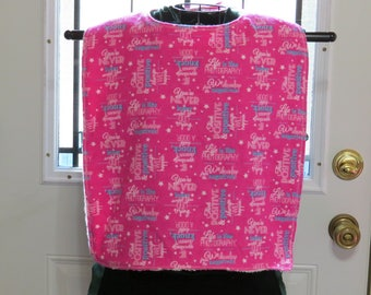 Large Tall Adult bib XL Tall Adult Bib.  Flannel & Terry Cloth. Fit adjusts at neck .  Reversible  Inspirational Words Adult Bib Extra large